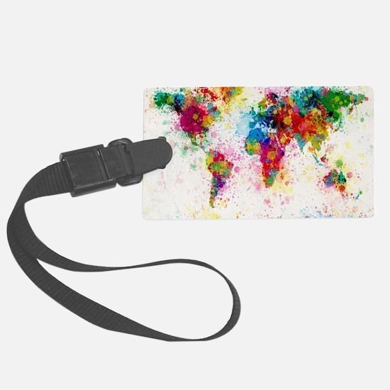 World Map Paint Splashes Luggage Tag