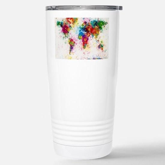 World Map Paint Splashe Stainless Steel Travel Mug