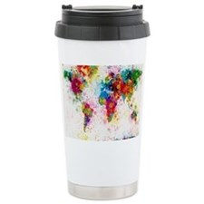 World Map Paint Splashe Travel Mug
