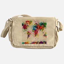 World Map Paint Splashes Messenger Bag