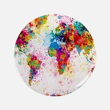 "World Map Paint Splashes 3.5"" Button"