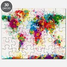 World Map Paint Splashes Puzzle