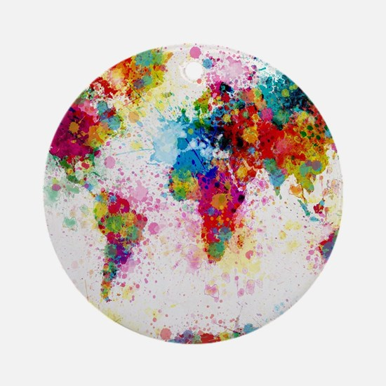 World Map Paint Splashes Round Ornament