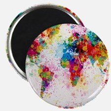 World Map Paint Splashes Magnet