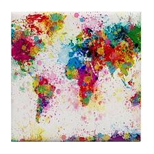 World Map Paint Splashes Tile Coaster