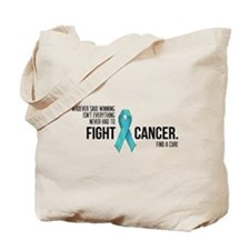 Fight Ovarian Cancer - Teal Ribbon Tote Bag