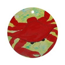 Red Crab ARt Round Ornament