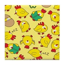 Funny Chicken Pattern Tile Coaster