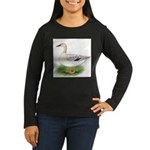 Snowy Mallard Hen Women's Long Sleeve Dark T-Shirt