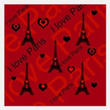 Trendy Black and Red I LOVE PARIS Invitations