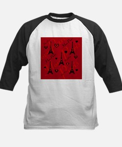 Trendy Black and Red I LOVE PARIS Baseball Jersey