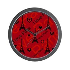 Trendy Black and Red I LOVE PARIS Wall Clock