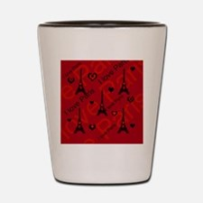 Trendy Black and Red I LOVE PARIS Shot Glass