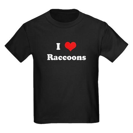 I Love Raccoons Kids Dark T-Shirt