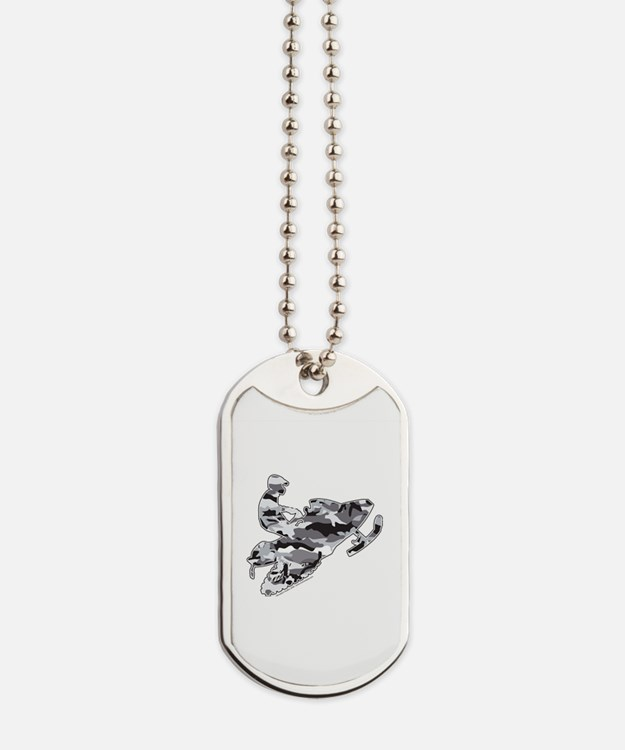 Camouflage Grey Snowmobiler Dog Tags