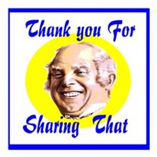 "Thank You For Sharing Square Car Magnet 3"" X"