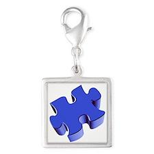 Puzzle Piece 2.1 Blue Silver Square Charm