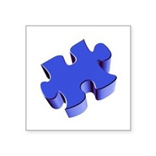 "Puzzle Piece 2.1 Blue Square Sticker 3"" x 3"""
