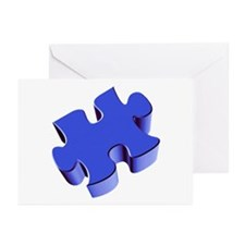 Puzzle Piece 2.1 Blue Greeting Cards (Pk of 10)