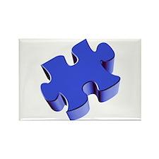 Puzzle Piece 2.1 Blue Rectangle Magnet (100 pack)