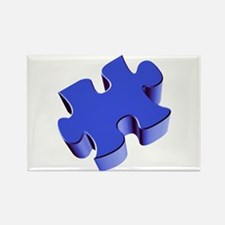 Puzzle Piece 2.1 Blue Rectangle Magnet (10 pack)
