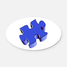 Puzzle Piece 2.1 Blue Oval Car Magnet
