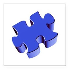 """Puzzle Piece 2.1 Blue Square Car Magnet 3"""" x 3"""""""