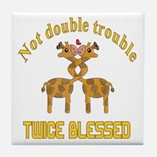 Twin Giraffes Tile Coaster