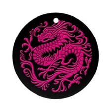 Traditional Pink and Black Chinese Dragon Circle O