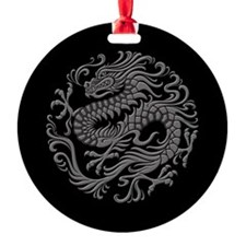 Traditional Gray and Black Chinese Dragon Circle R