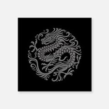 Traditional Gray and Black Chinese Dragon Circle S