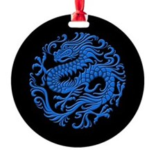 Traditional Blue and Black Chinese Dragon Circle R