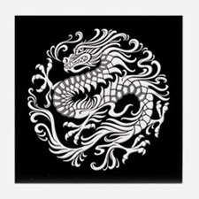 Traditional White and Black Chinese Dragon Circle