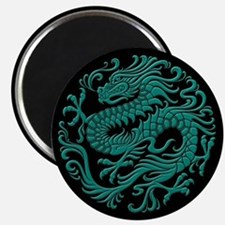 Traditional Teal Blue and Black Chinese Dragon Cir