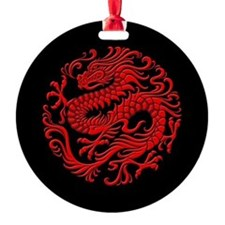 Traditional Red and Black Chinese Dragon Circle Ro