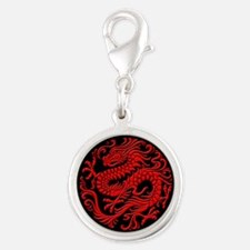 Traditional Red and Black Chinese Dragon Circle Ch