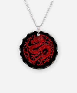 Traditional Red and Black Chinese Dragon Circle Ne