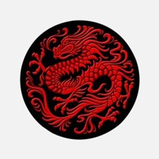 Traditional Red and Black Chinese Dragon Circle 3.