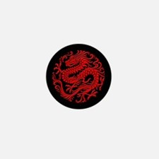 Traditional Red and Black Chinese Dragon Circle Mi