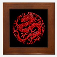 Traditional Red and Black Chinese Dragon Circle Fr