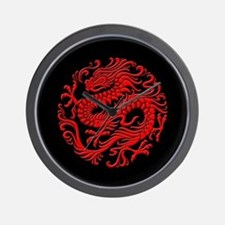 Traditional Red and Black Chinese Dragon Circle Wa