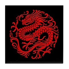 Traditional Red and Black Chinese Dragon Circle Ti