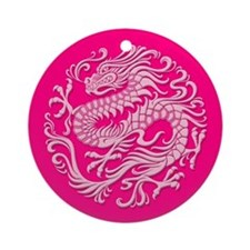 Traditional Pink Chinese Dragon Circle Ornament (R