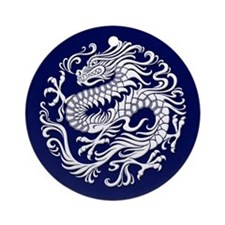 Traditional White and Blue Chinese Dragon Circle O