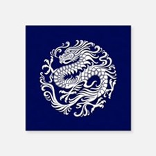 Traditional White and Blue Chinese Dragon Circle S