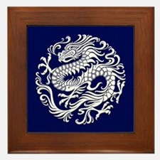 Traditional White and Blue Chinese Dragon Circle F