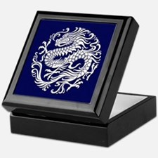 Traditional White and Blue Chinese Dragon Circle K