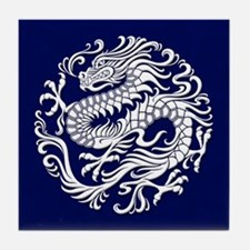 Traditional White and Blue Chinese Dragon Circle T