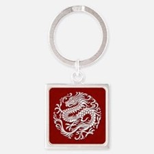 Traditional White and Red Chinese Dragon Circle Ke