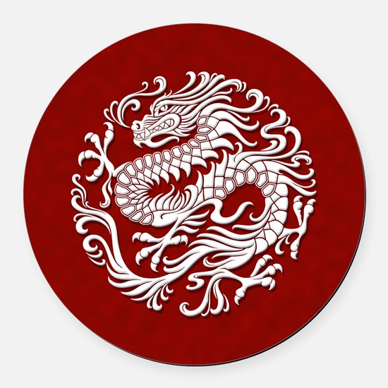 Traditional White and Red Chinese Dragon Circle Ro